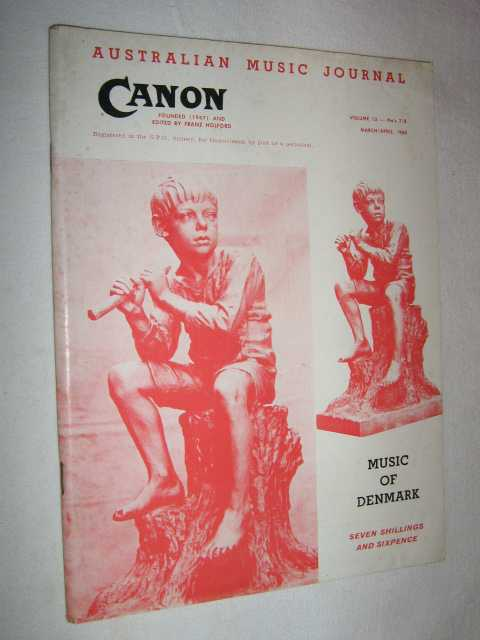 Image for Canon: Australian Music Journal vol 13 nos 7, 8 (in one edition) March :April 1960