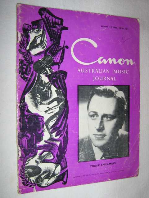 Image for Canon: Australian Music Journal vol 14 nos 10, 11, 12 (in one edition) : May June July 1961