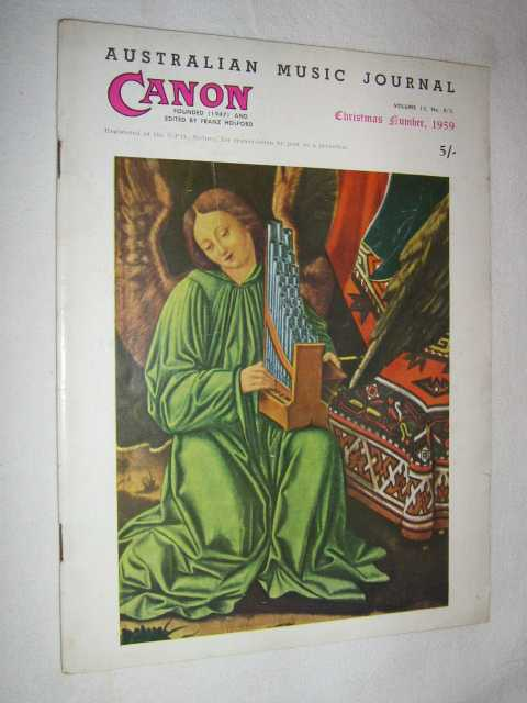 Image for Canon: Australian Music Journal vol 13 nos 4, 5 (in one edition) : Nov-Dec 1959