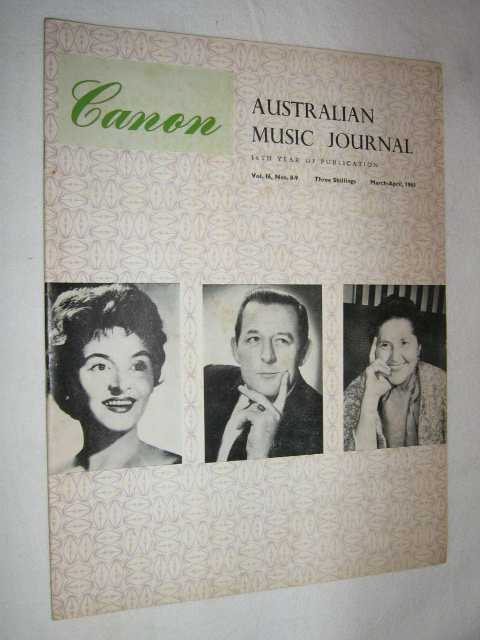 Image for Canon: Australian Music Journal vol 16 numbers 8, 9 (in one edition) : 1963