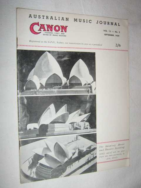 Image for Canon: Australian Music Journal vol 13 number 2 : September 1959