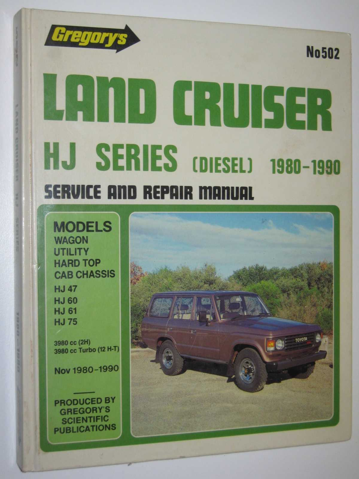 Image for Toyota Land Cruiser HJ Series Diesel 1980-1990 - Service and Repair Manual Series #502