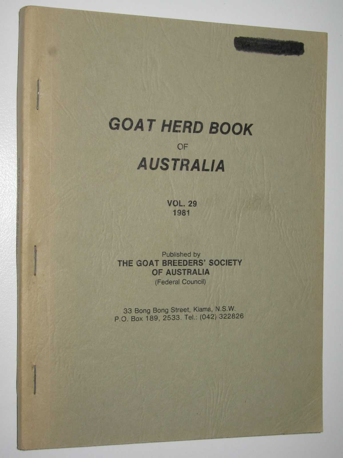 Image for Goat Herd Book of Australia Vol. 29