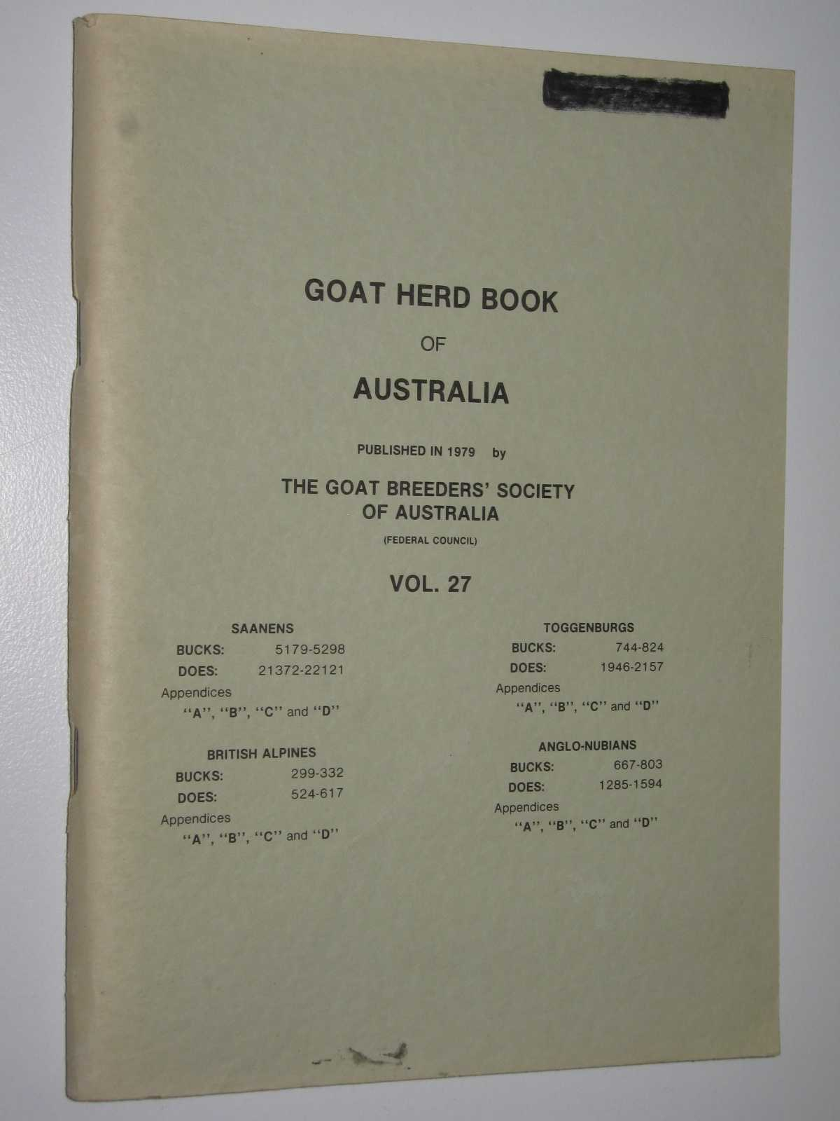 Image for Goat Herd Book of Australia Vol. 27