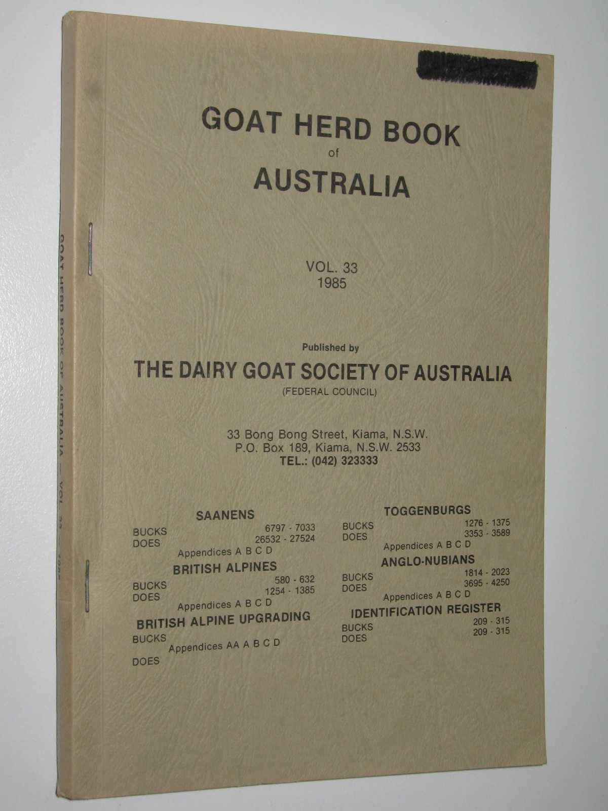 Image for Goat Herd Book of Australia Vol. 33